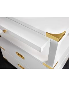 Modern History Spinnaker White Campaign Bedside Chest With Gold Accents