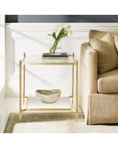 Modern History Square Satin Brass Lacquered Plated Finish Pom End Table with Buffed White Acrylic Drop-In Base