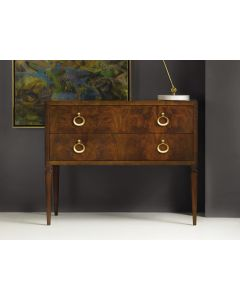 Modern History Two Drawer Feathered Walnut Veneer Avignon Commode with Solid Brass Hardware