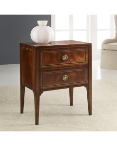 Modern History Two Drawer Mahogany Veneer Bedside Chest with Ebony Painted Inlay