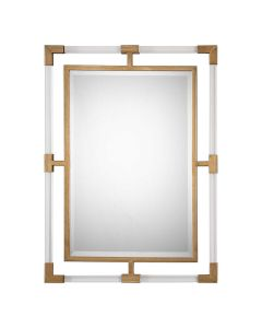 Modern Rectangular Mirror With Forged Iron and Acrylic Frame