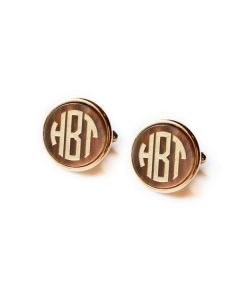 Moon & Lola Monogrammed Round Acrylic Cuff Links - Variety of Colors Available