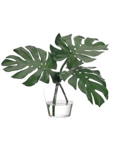 Faux Monstera Leaf in Glass Vase