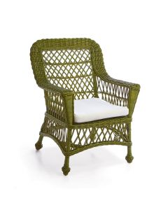 Green Woven Wicker Arm Chair with Cushion