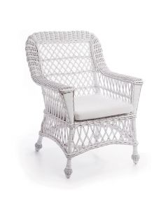 Woven Wicker Arm Chair in White with Cushion