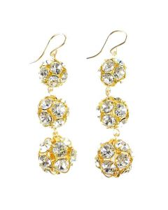 Europa Rhinestone Ball Graduated Earrings - Available in Silver or Gold