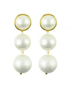 Luna Double Drop Cotton Pearl Post Earrings