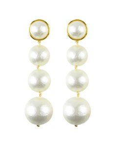 Luna Triple Drop Cotton Pearl Post Earrings