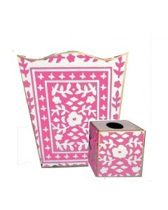 Mosaic in Pink Wastebasket With Optional Tissue Box