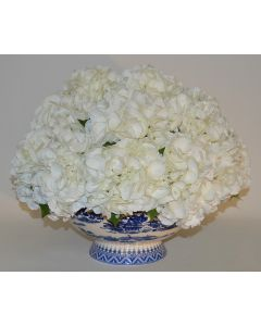 Mounded Faux Floral Hydrangea in a Blue and White Porcelain Container