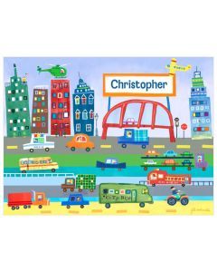 City Transportation Personalized Canvas Wall Art for Kids