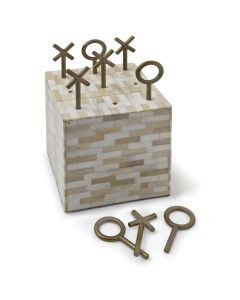 Decorative Tic Tac Toe Block Game in Multi-Tone Bone
