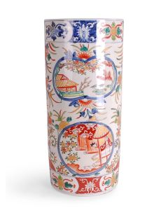 Multicolor Chinoiserie Porcelain Umbrella Stand