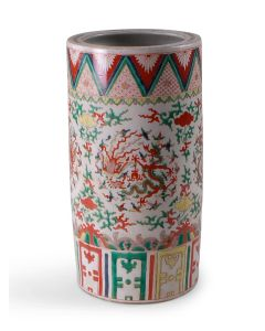 Multicolor Porcelain Umbrella Stand With Dragon Design