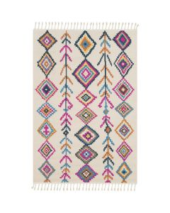 Multicolor Tribal Diamond Boho Rug With Tassel Fringe - Available in a Variety of Sizes