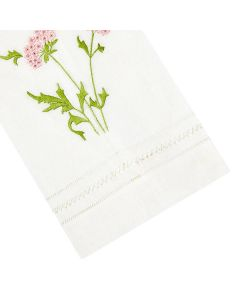 Muriel Embroidered Linen Tip Towel in Pink - IN STOCK IN GREENWICH, CT