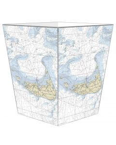 Nantucket Nautical Chart Decoupage Wastebasket and Optional Tissue Box