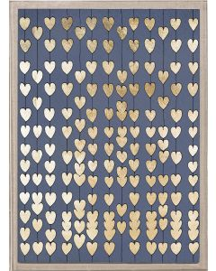Natural Curiosities Cartier Hearts in Gold and Navy Wall Art with Acrylic Frame