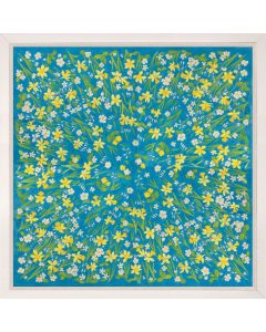 Natural Curiosities Paule Marrot Yellow Daffodils Field on Blue Reproduction Wall Art with Optional Frame