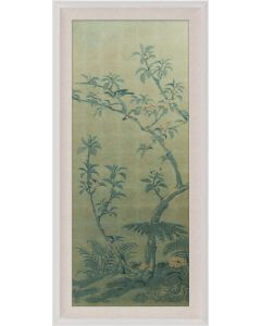 Natural Curiosities Rococo Gold & Green Chinoiserie Tree with Birds Wall Art I with Optional Frame