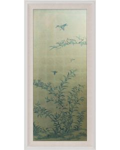 Natural Curiosities Rococo Gold & Green Chinoiserie Tree with Birds Wall Art II with Optional Frame