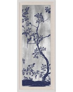 Natural Curiosities Rococo Navy & Silver Chinoiserie Tree with Birds Wall Art II with Optional Frame