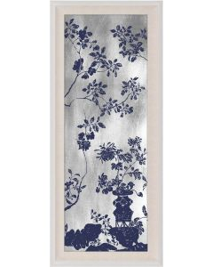 Natural Curiosities Rococo Navy & Silver Chinoiserie Tree with Birds Wall Art III with Optional Frame
