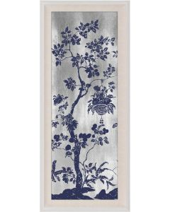 Natural Curiosities Rococo Navy & Silver Chinoiserie Tree with Birds Wall Art IV with Optional Frame