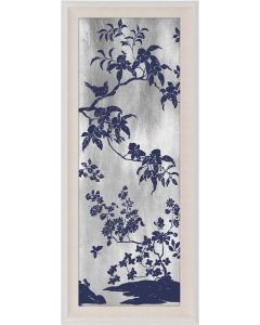 Natural Curiosities Rococo Navy & Silver Wall Art I with Optional Frame