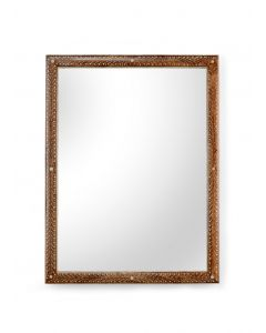 Natural Wood Frame Mirror with Floral and Vine Bone Inlay