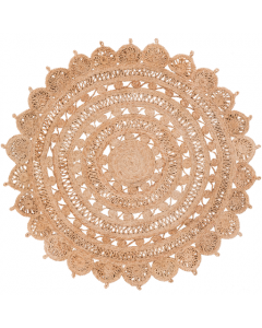 Natural Jute Hand Woven Round Medallion Sunflower Rug - Available in 3 Sizes - SELECTED SIZE ON BACKORDER, CALL TO CONFIRM AVAILABILITY
