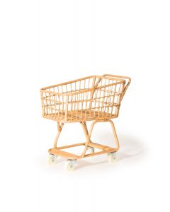 Natural Rattan Pretend Play Shopping Cart for Toddlers - OUT OF STOCK