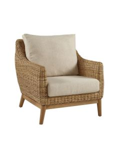 Natural Weave Club Chair with Cream Cushion - CALL TO CONFIRM AVAILABILITY