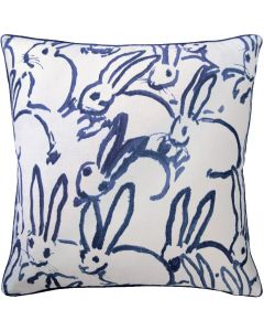 Navy Bunny Design Decorative Linen Throw Pillow, Available in Different Sizes
