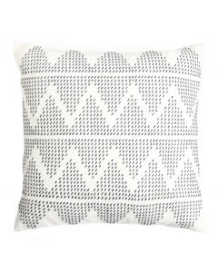 Embroidered Zig Zag Design Cotton Decorative Pillow in Navy and Cream