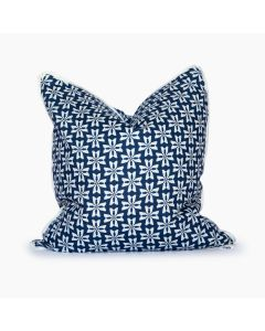 Navy and White Dogwood Floral Linen Square Throw Pillow