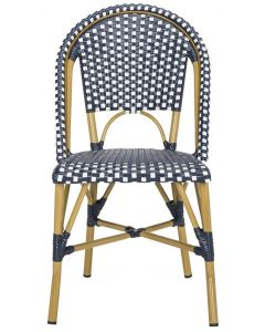 Navy and White Indoor-Outdoor French Bistro Stacking Side Chair - Set of 2