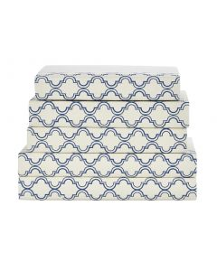 Navy and White Quatrefoil Decorative Book Set