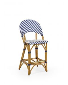 Navy and White Rattan Riviera Parisian Cafe Counter Stool