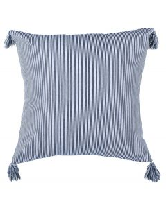 Navy and White Striped Tassel Throw Pillow