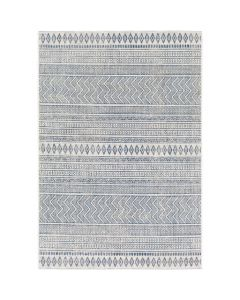 Blue and White 5x7 Tribal Diamond Indoor/Outdoor Area Rug