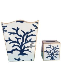 Navy Coral Wastebasket With Optional Tissue Box