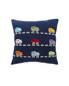 Navy Handmade Children's Pillow with Mini Car Design