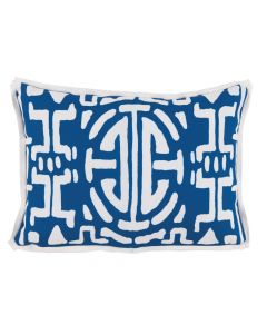 Blue and White Design Outdoor Lumbar Pillow - LOW STOCK