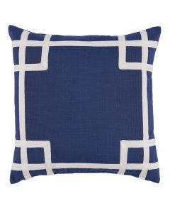 Navy Blue Outdoor Pillow with White Tape Trim Detail