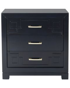 Navy Three Drawer Greek Key Night Stand