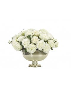 Cream White Rose Silk Flower Arrangement in Silver Bowl