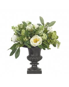 Peony, Rose and Snowball Silk Flower Arrangement in Urn