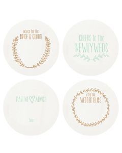 Newlywed Letterpress Coasters-Set of 100 - IN STOCK IN GREENWICH, CT FOR QUICK SHIPPING