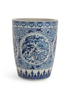 Newport Blue and White Porcelain Pot With Dragon Design